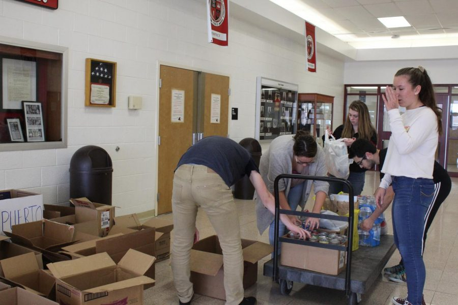 Students volunteered to collect food during their study hall.
