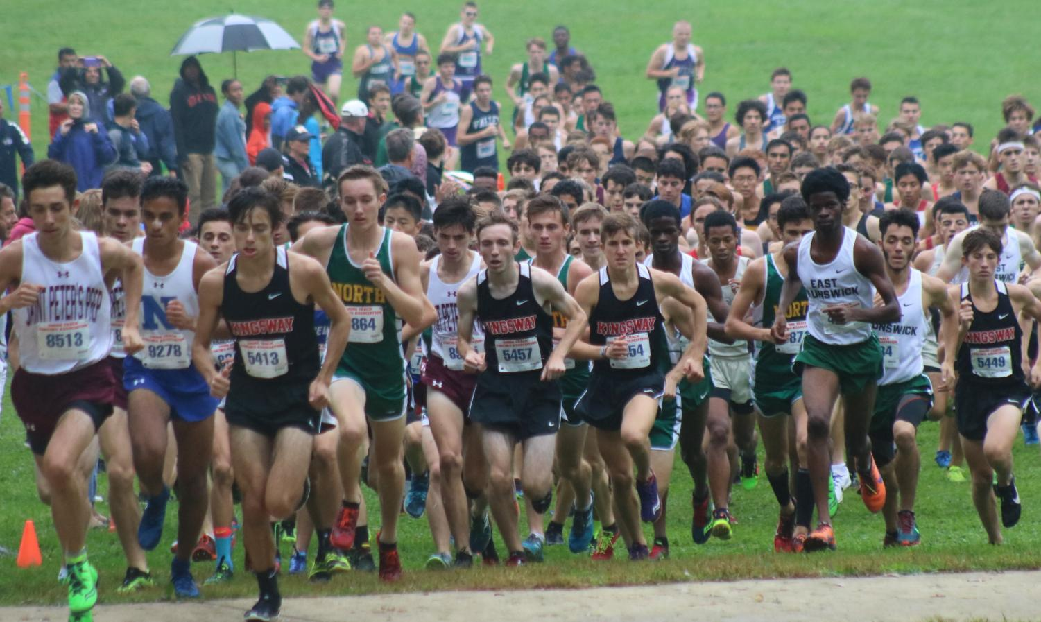 The Kingsway boys run as a pack almost every race. In this race Stone Carracio leads his team to a first place at Shore Coaches.