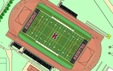 A map of  prospective facility .Lines on the field indicate multiple sport use.