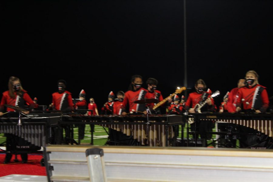 The band had the opportunity to play at several football games this season.