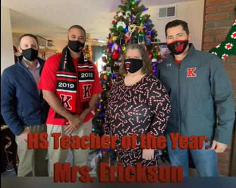 While school was all virtual in December, math teacher Connie Erickson received news at her home that she is the 2020-21 Teacher of the Year. L-R: Guidance Director, Michael Schiff; Principal, Melvin Allen, Connie Erickson; Superintendent, James Lavender
